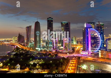 New skyline of the West Bay central financial district, Doha, Qatar, Middle East - Stock Photo
