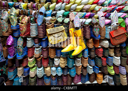 Soft leather Moroccan slippers in the Souk, Medina, Marrakesh, Morocco, North Africa, Africa - Stock Photo