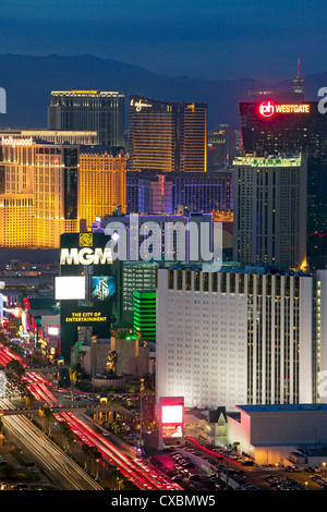 Elevated dusk view of the hotels and casinos along the Strip, Las Vegas, Nevada, United States of America, North - Stock Photo