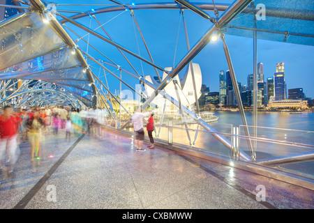 The Helix Bridge and Marina Bay Sands, Marina Bay, Singapore, Southeast Asia, Asia - Stock Photo