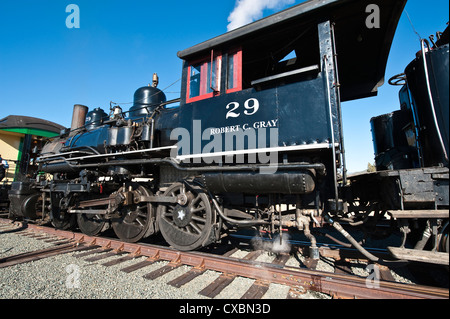 Old steam locomotive at historic Gold Hill train station, outside Virginia City, Nevada, United States of America, - Stock Photo