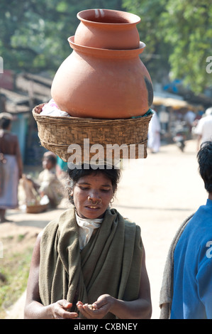 Dunguria Kondh woman with tribal noserings carrying terracotta pots in a basket on her head, Bissam Cuttack, Orissa, - Stock Photo