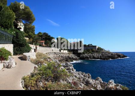 Coastal Path, Cap d'Ail, Cote d'Azur, Provence, French Riviera, Mediterranean, France, Europe - Stock Photo