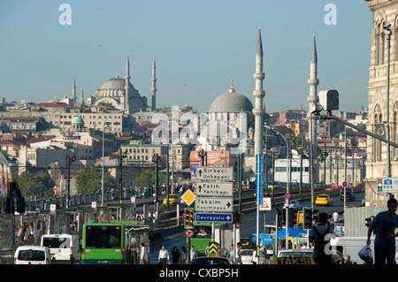 ISTANBUL, TURKEY. A view from Karakoy across the Galata Bridge to Eminonu. 2012. - Stock Photo