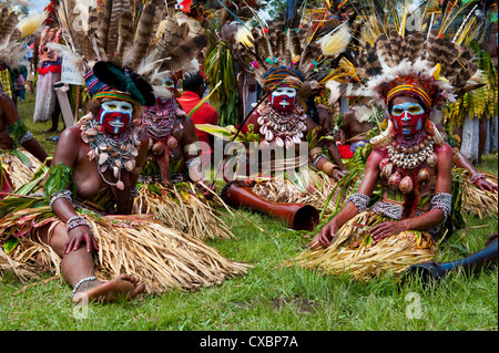Colourfully dressed and face painted local tribes celebrating the traditional Sing Sing in the Highlands of Papua - Stock Photo