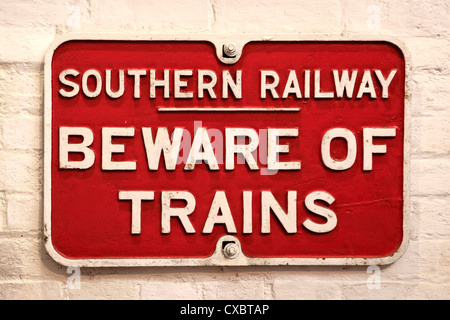Southern Railways Beware of Trains Vintage sign - Stock Photo