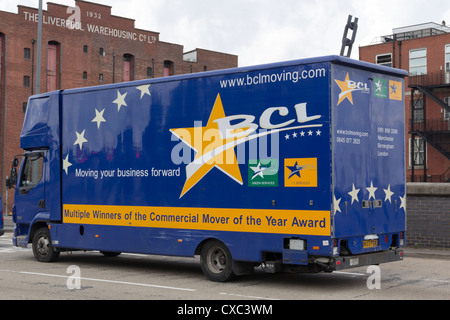 Removals van  on Trafford  Road, Salford, It is operated by BCLMoving, a specialist business and office relocation - Stock Photo
