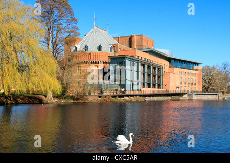 Royal Shakespeare Company Theatre and River Avon, Stratford-upon-Avon, Warwickshire, England, United Kingdom, Europe - Stock Photo