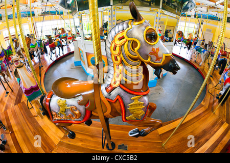 Historic Nunley's Carousel, with horse wearing armor seen from above, 180 degree fisheye view, Long Island, New - Stock Photo