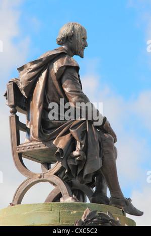 Shakespeare statue, Gower memorial, Stratford-upon-Avon, Warwickshire, England, United Kingdom, Europe - Stock Photo