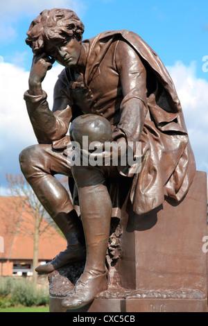 Hamlet statue, Gower Memorial, Stratford-upon-Avon, Warwickshire, England, United Kingdom, Europe - Stock Photo
