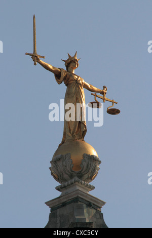 Scales of Justice, Central Criminal Court, Old Bailey, London, England, United Kingdom, Europe - Stock Photo