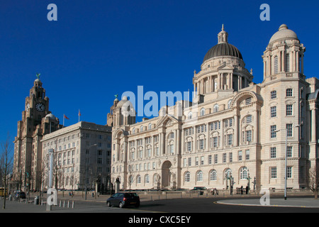 Pierhead, with Liver building, Cunard building and Dock company building, UNESCO World Heritage Site, Liverpool, - Stock Photo