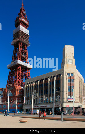 Tower and Promenade, Blackpool, Lancashire, England, United Kingdom, Europe - Stock Photo