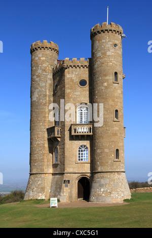 Broadway tower, Cotswolds, Worcestershire, England, United Kingdom, Europe - Stock Photo