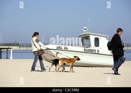 Tourists with dogs and boat on the beach on the Baltic Sea in Ahlbeck - Stock Photo