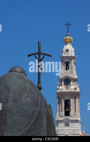 Statue of Pope John Paul II and Basilica, Fatima, Portugal, Europe - Stock Photo