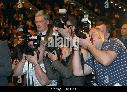 Press photographers at the RWE AGM - Stock Photo