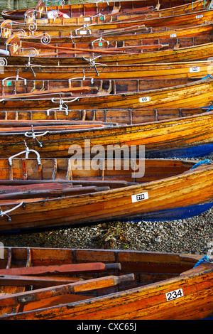Rowing boats, Ambleside, Lake Windermere, Lake District National Park, Cumbria, England, United Kingdom, Europe - Stock Photo