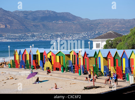 Colourful beach huts, Kalkbay, Cape Province, South Africa, Africa - Stock Photo