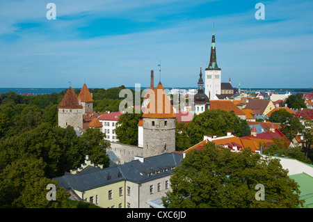 View of Vanalinn the old town with Oleviste kirik the St Olav's church Tallinn Estonia Europe - Stock Photo