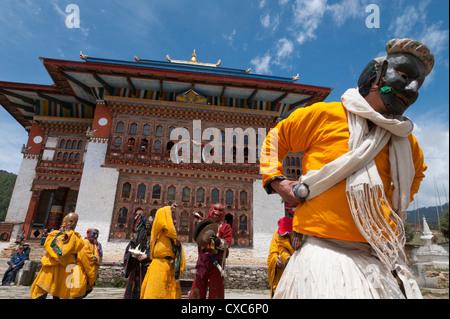 Traditional Buddhist festival in Ura, Bumthang, Bhutan, Asia - Stock Photo