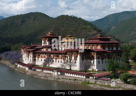 View of the Dzong in Punakha, Bhutan, Asia - Stock Photo