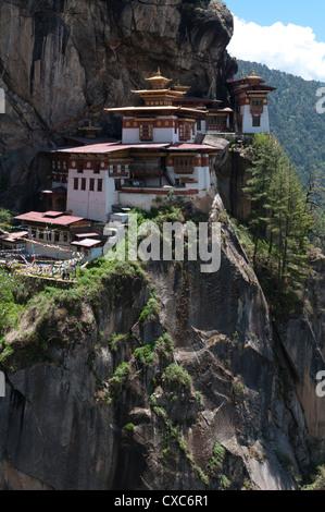 Taktshang Goemba (Tigers nest monastery), Paro valley, Bhutan, Asia - Stock Photo