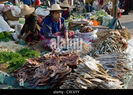 Weekly food market, Taungyi, Southern Shan State, Myanmar (Burma), Asia - Stock Photo