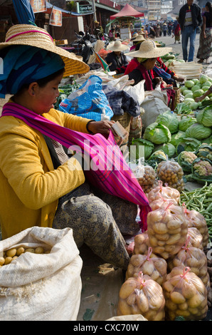 Weekly food market, Taungyi, Southern Shan State, Myanmar (Burma), Asia - Stock Photo