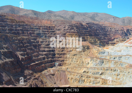 The Lavender open pit copper mine in Bisbee, Arizona, United States of America, North America - Stock Photo