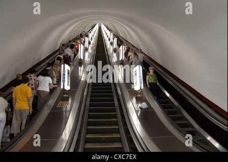 Metro escalator, Kiev, Ukraine, Europe - Stock Photo