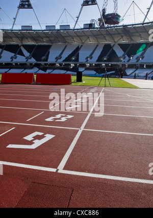The finishing line of the athletics track inside The Olympic Stadium, London, England, United Kingdom, Europe - Stock Photo