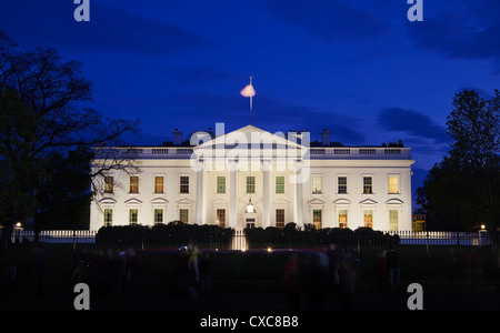 The White House at night with tourists, Washington D.C., United States of America, North America - Stock Photo