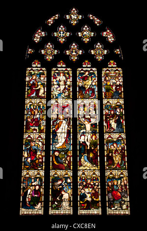 Stained glass window in St Marys Church Pembridge Herefordshire England UK. - Stock Photo