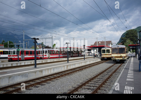 The Aigle–Ollon–Monthey–Champéry is a metre-gauge railway operating in the Chablais region of Switzerland - Stock Photo