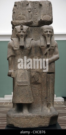Sculpture of Pharaoh Ramesses II and the God Ptah. Granite. From Temple of Ptah, Memphis. - Stock Photo
