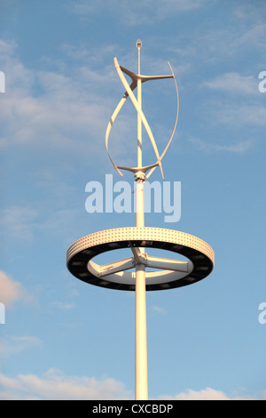 One of the seven vertical axis wind turbines built on the London 2012 Olympic Park site, Stratford, London, UK. - Stock Photo