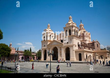 Iglesia Catedral at Plaza San Martin, Cordoba City, Cordoba Province, Argentina. - Stock Photo