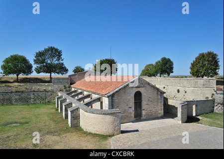 The Saint-Luc gunpowder magazine / poudrière with flying-buttresses at Brouage / Hiers-Brouage, Charente-Maritime, - Stock Photo