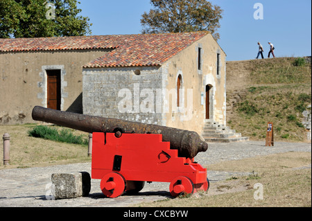 Old cannon in the citadel of Brouage / Hiers-Brouage, Charente-Maritime, France - Stock Photo