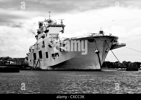 Black and white image of HMS Ocean in Greenwich - Stock Photo