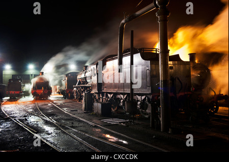 The engine shed and yard at night, Bridgnorth, Severn Valley Railway Steam Gala, September 2012 - Stock Photo