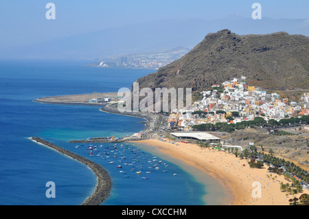 Aerial view famous beach of Teresitas of the northeast part of Tenerife in the Spanish Canary Islands with San Andres - Stock Photo