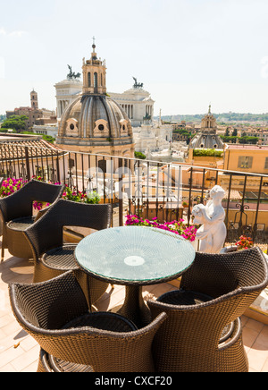 Monument to Vittorio Emanuele II from roof top terrace, Rome, Roma, Italy, Italia, Europe - Stock Photo