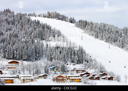 Ski piste in Flachau, Austria - Stock Photo