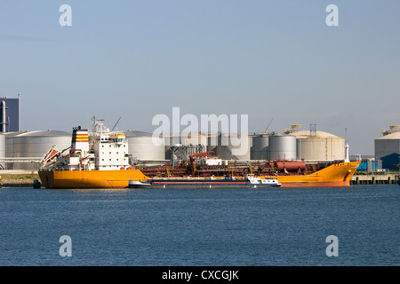 Oil tanker moored in the Port of Rotterdam