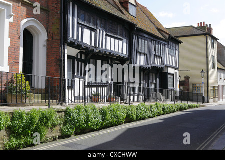 Half timbered medieval Sussex Wealden hall house in All Saints Street Hastings Old Town England UK GB - Stock Photo