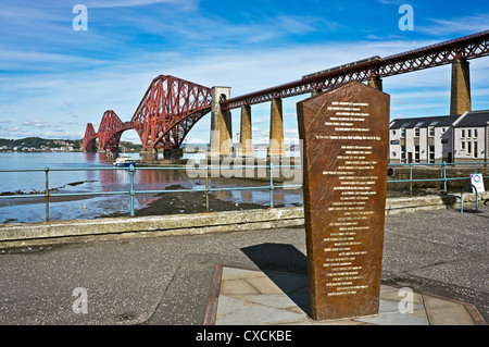 Forth Rail bridge viewed from South Queensferry with newly erected memorial right and The Forth Belle taking on - Stock Photo