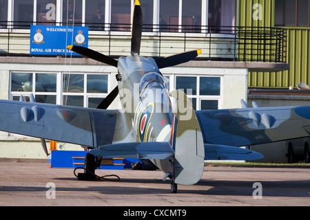 Spitfire at Leuchars Air Force Base, Scotland - Stock Photo